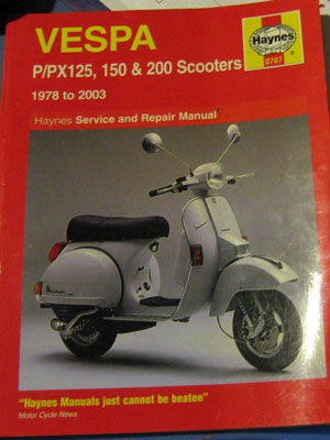 Haynes Service and Repair Manual – Vespa P/PX125, 150 & 200 ... on vespa sprint, vespa gts 125, vespa lx50, vespa p200e, vespa t5, vespa super, vespa px150,