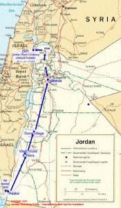 The route from Israel to Jordan to Israel. South to North. Click to enlarge.