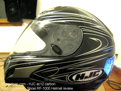 The HJC is a fine and very light helmet.
