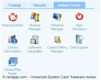 "A partial view of the ""Admin Tools"" section"